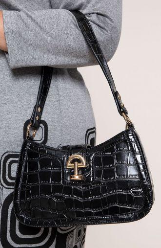 Mała czarna torebka z ozdobną klamrą