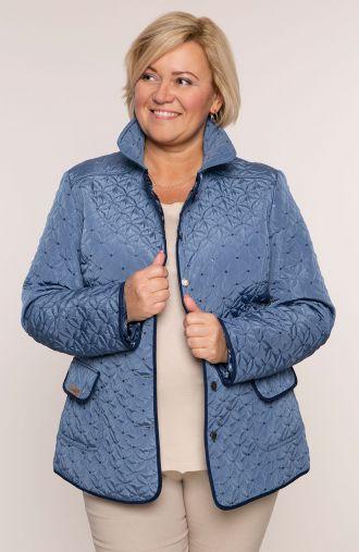 Błękitna pikowana kurtka z cekinami