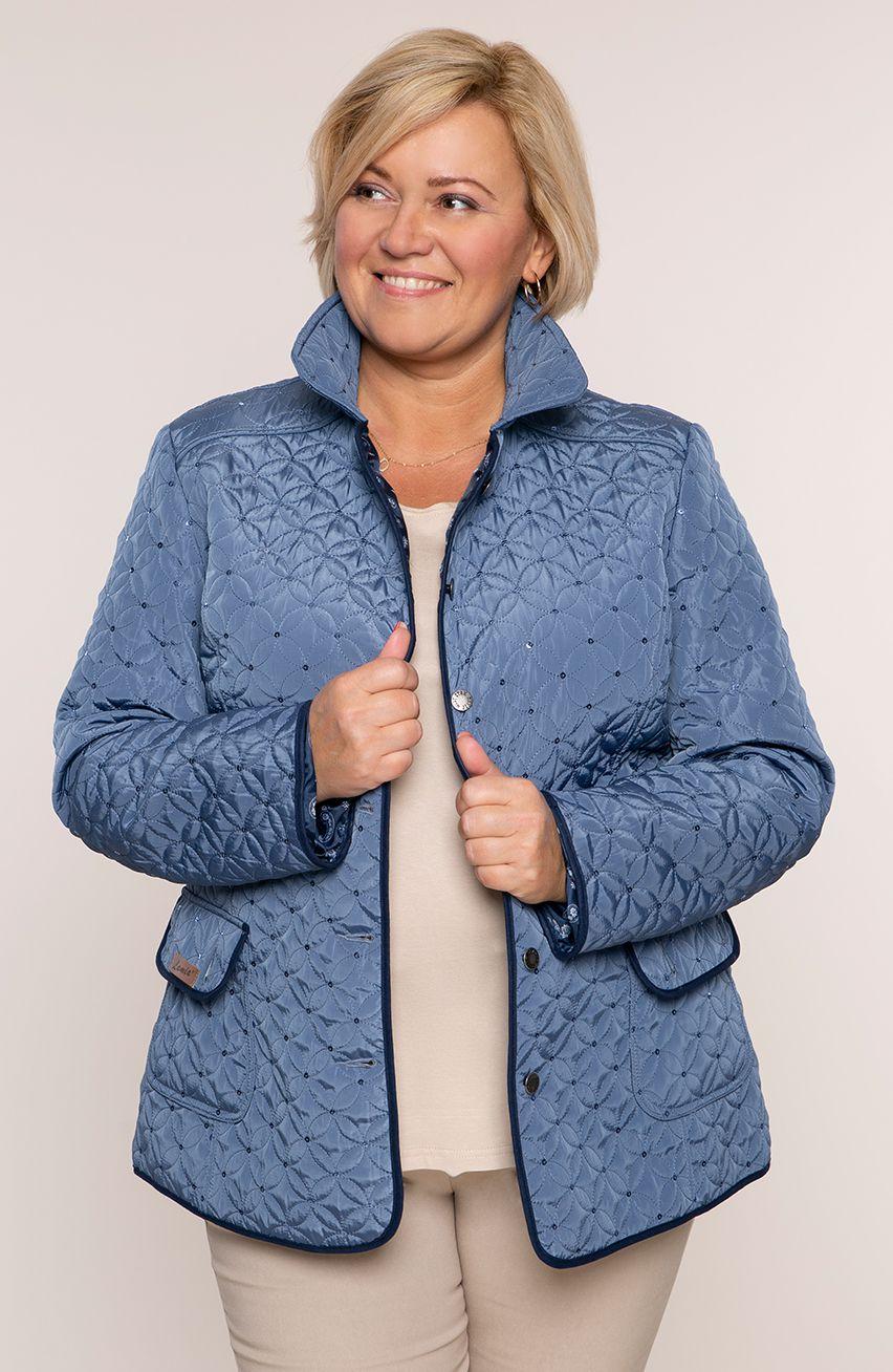 Błękitna pikowana kurtka z cekinami modneduzerozmiary 11260