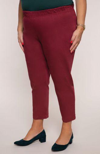 Bordowe spodnie 3/4 z guzikami