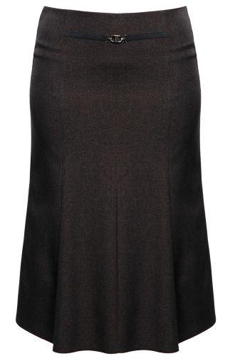Elegancka brązowa spódnica z klamrą