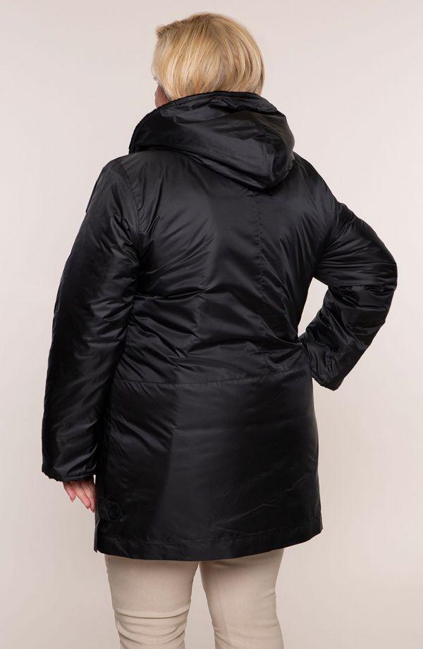 Czarna długa kurtka z kapturem i futerkiem