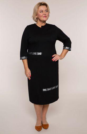 Czarna sportowa sukienka z napisem love