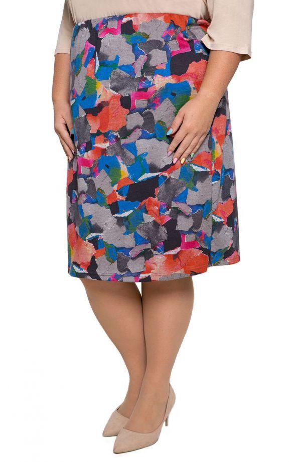 Dzianinowa spódnica kolorowe łatki