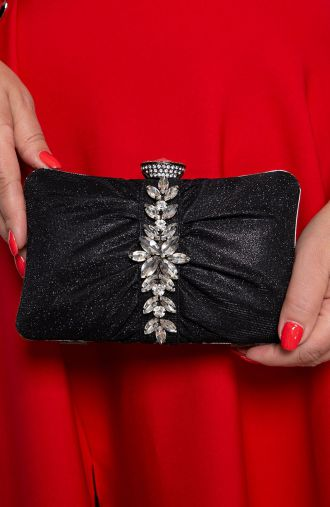 Czarna wieczorowa torebka z kryształami