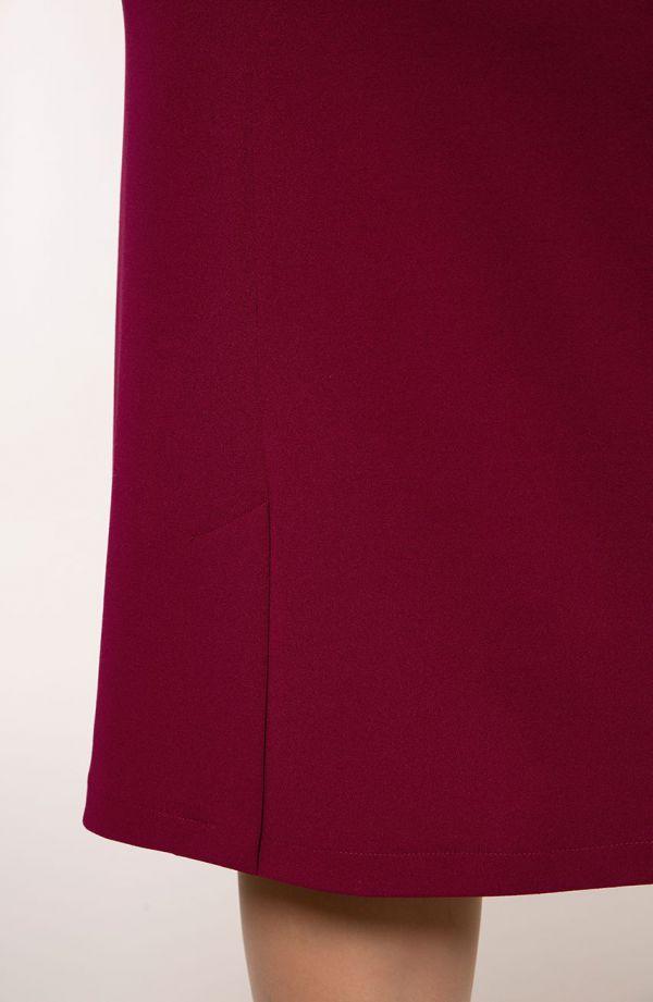 Bordowa sukienka rękaw 3/4 z koronki