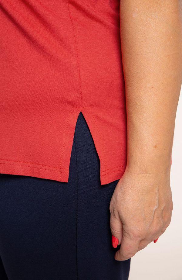 Koszulka z wiskozy w ceglanym kolorze - odzież xxl