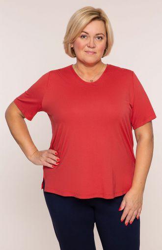 Koszulka z wiskozy w ceglanym kolorze
