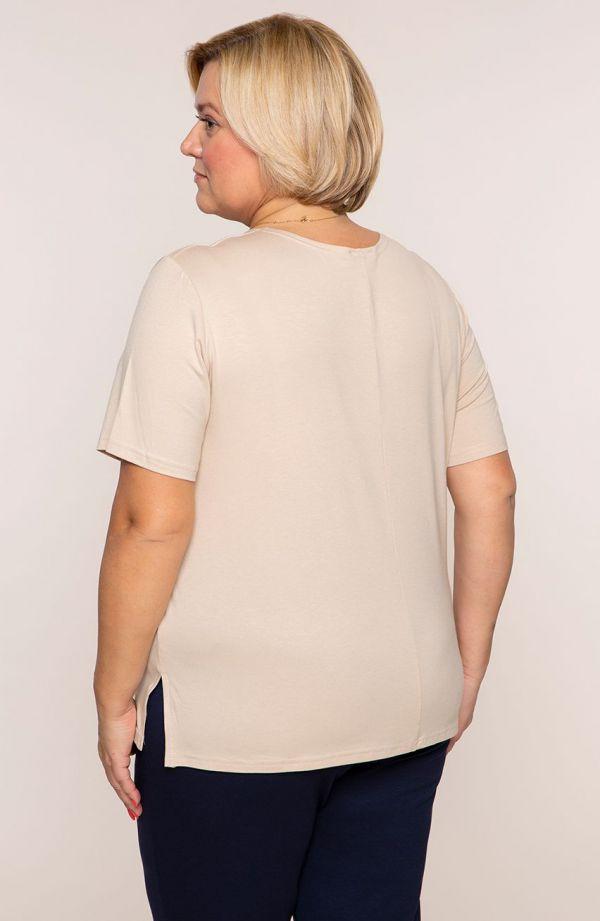Beżowa gładka koszulka z wiskozy