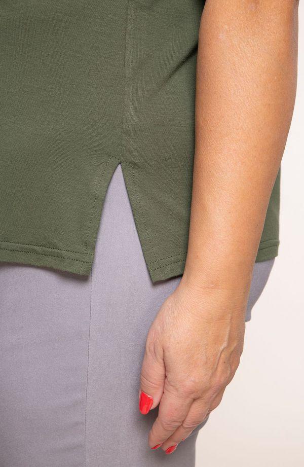 Gładka koszulka z wiskozy w kolorze khaki