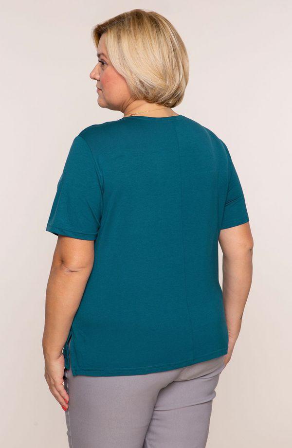 Koszulka z wiskozy w kolorze szmaragdowym