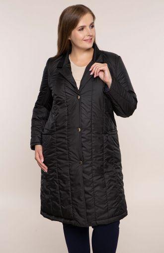 Kruczoczarna przejściowy pikowany płaszcz