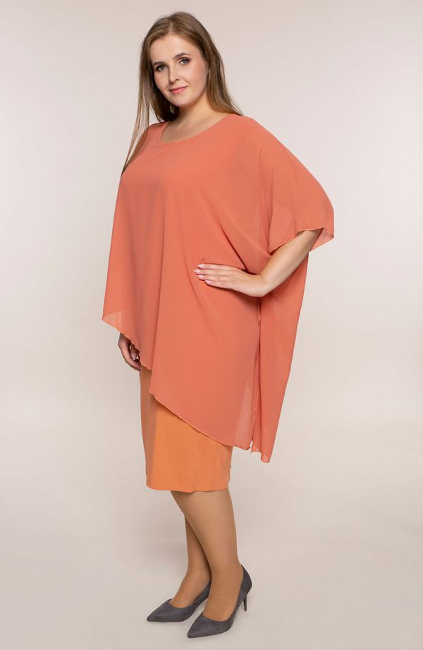 Marchewkowa sukienka  z narzutką