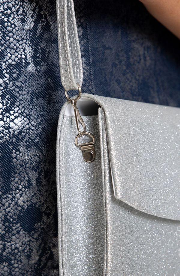 Elegancka kopertówka srebrny brokat