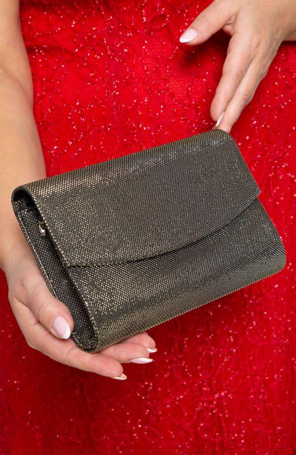 Elegancka kopertówka czarne złoto