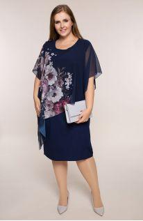 Asymetryczna sukienka liliowe piwonie