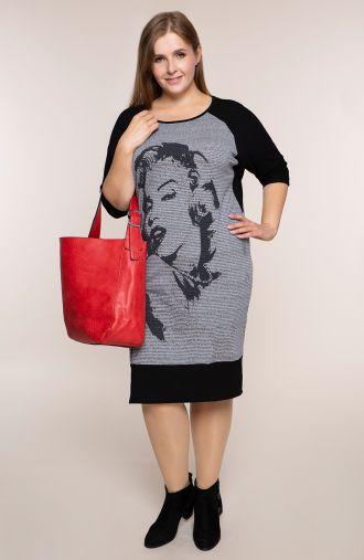Prosta sukienka szara Marilyn