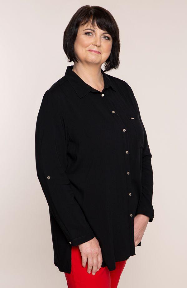 Długa czarna koszula z kieszonką