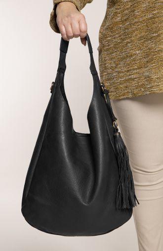 Czarna torba na ramię z chwostem