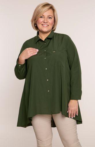 Oliwkowa przedłużona tyłem koszula