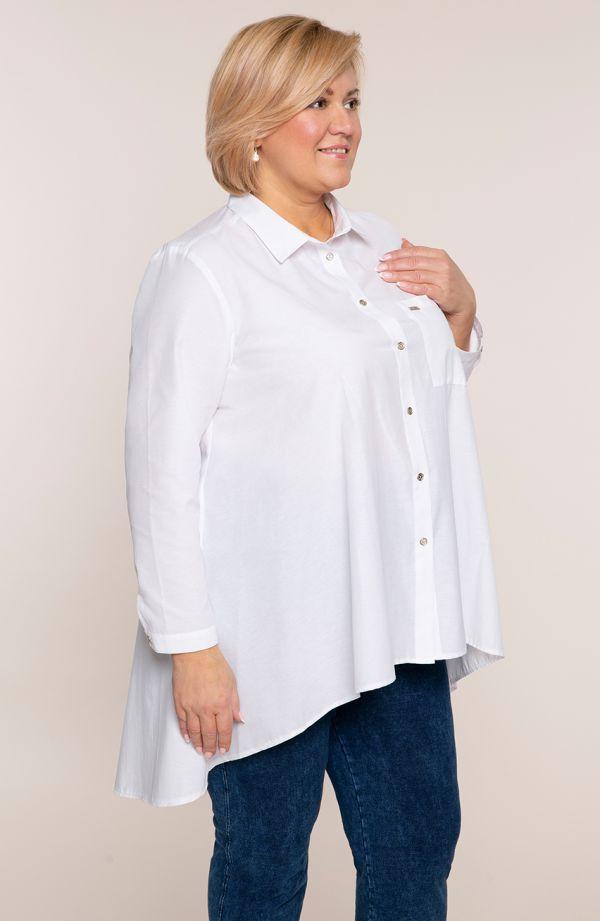 Biała przedłużona tyłem koszula