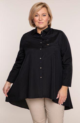 Czarna przedłużona tyłem koszula