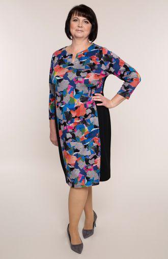 Dzianinowa sukienka kolorowe łatki