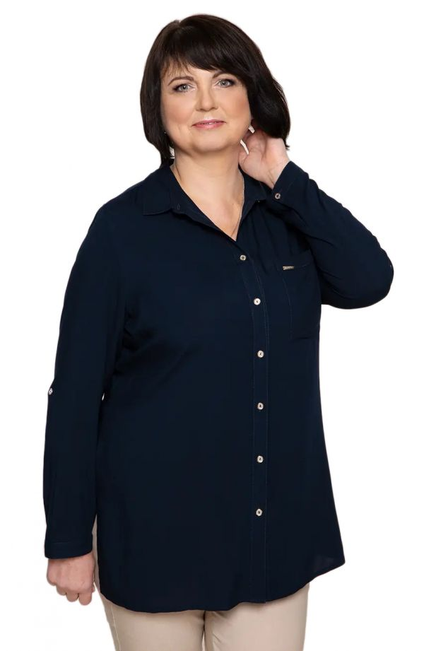 Długa granatowa koszula z kieszonką