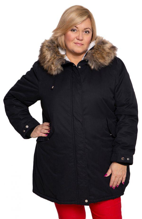 Czarna kurtka zimowa parka