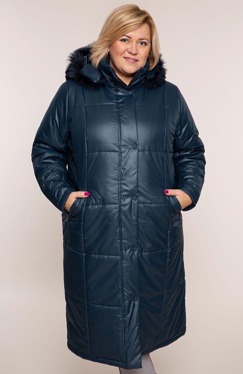Granatowa ocieplana długa kurtka z kapturem modneduzerozmiary 8679