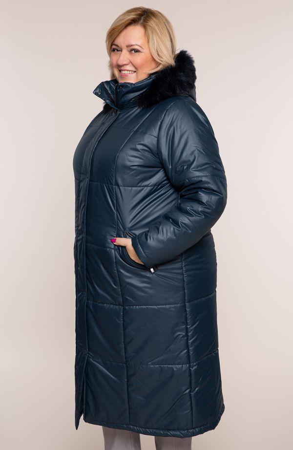 Granatowa ocieplana długa kurtka z kapturem