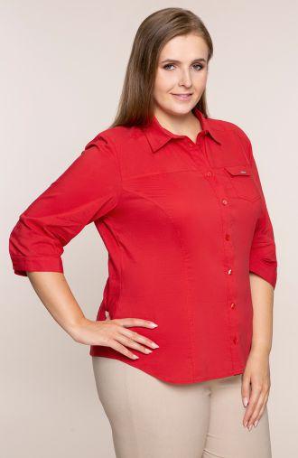 Czerwona koszula z rękawem 3/4 i kieszonką
