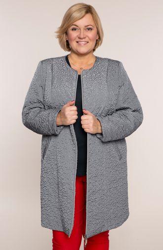 Pikowany płaszcz abstrakcja w szarym kolorze