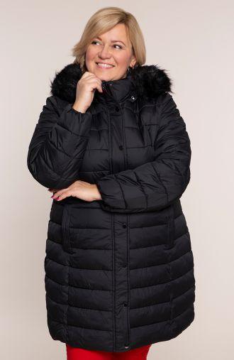 Czarna pikowana kurtka ze stójką i kapturem