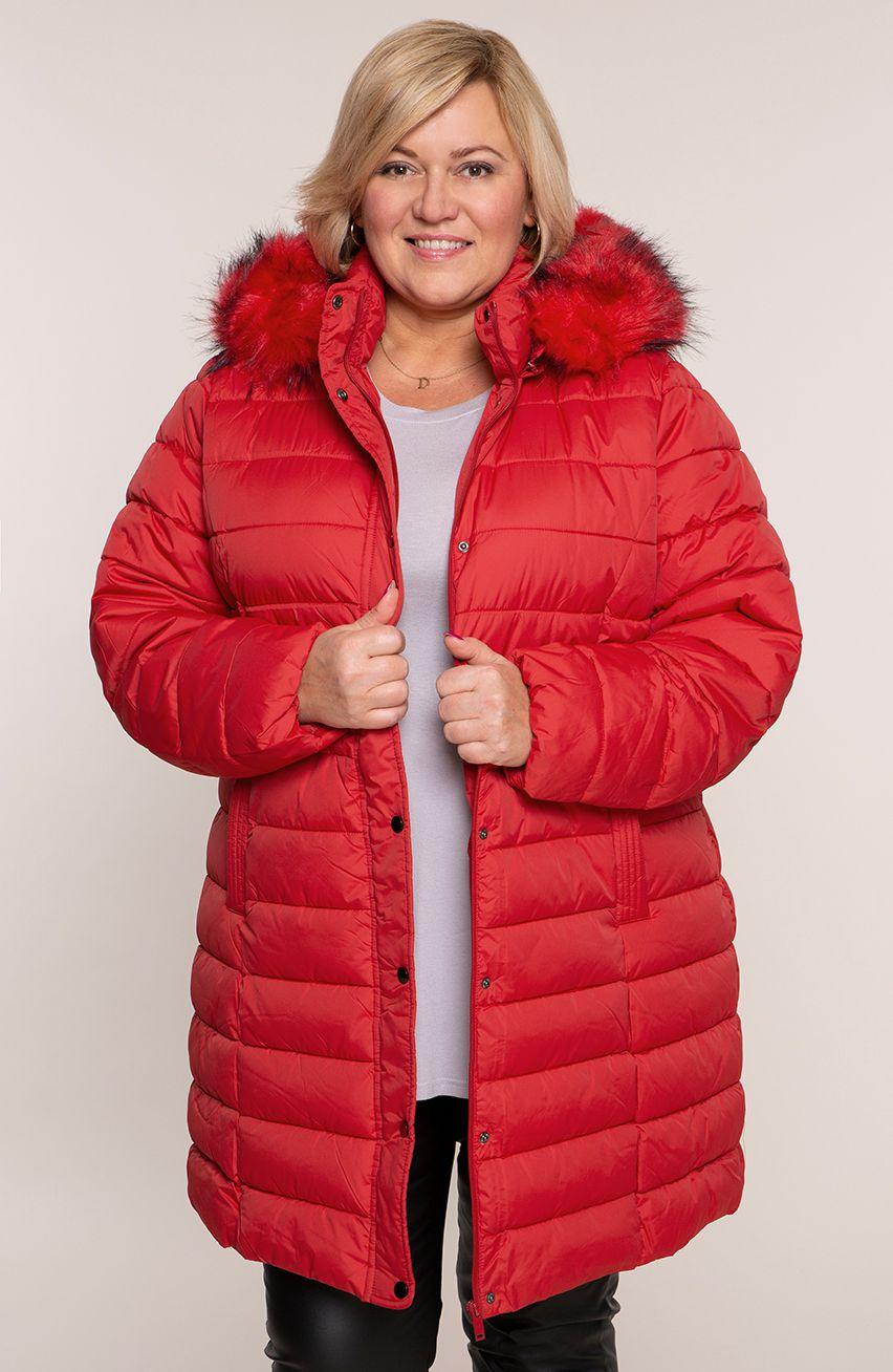 Czerwona pikowana kurtka ze stójką i kapturem modneduzerozmiary 8533