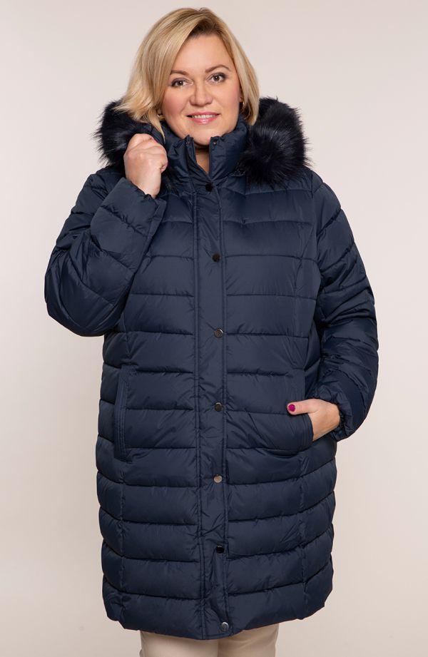 Granatowa pikowana kurtka ze stójką i kapturem