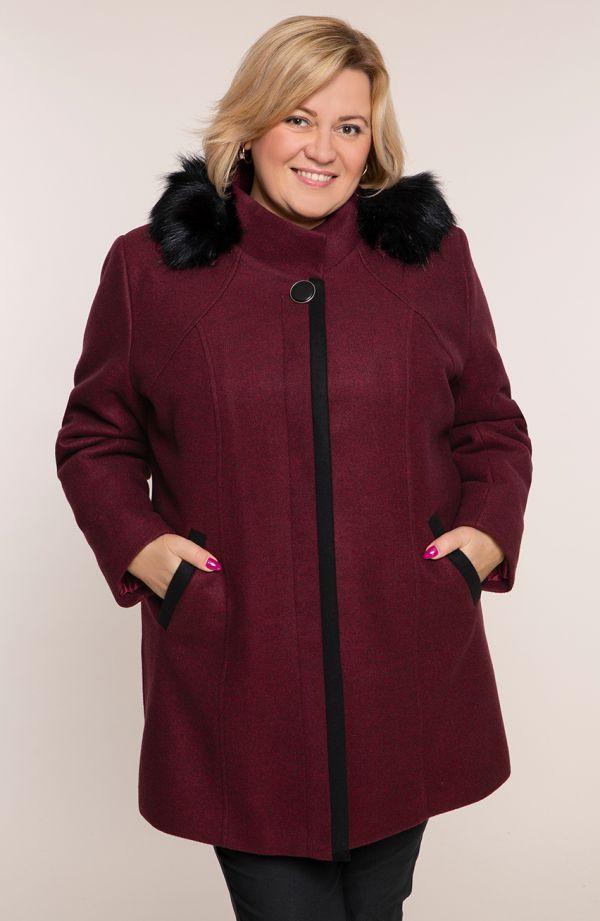 Bordowy płaszcz z odpinanym kapturem
