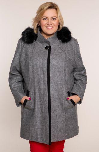Szary płaszcz z odpinanym kapturem