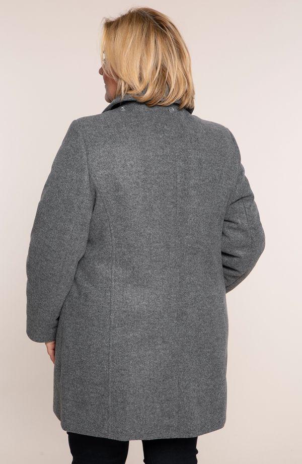 Szary płaszcz na guziki z kapturem