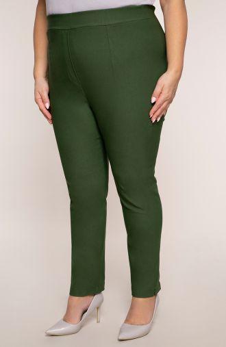 Oliwkowe spodnie z bardzo wysokim stanem