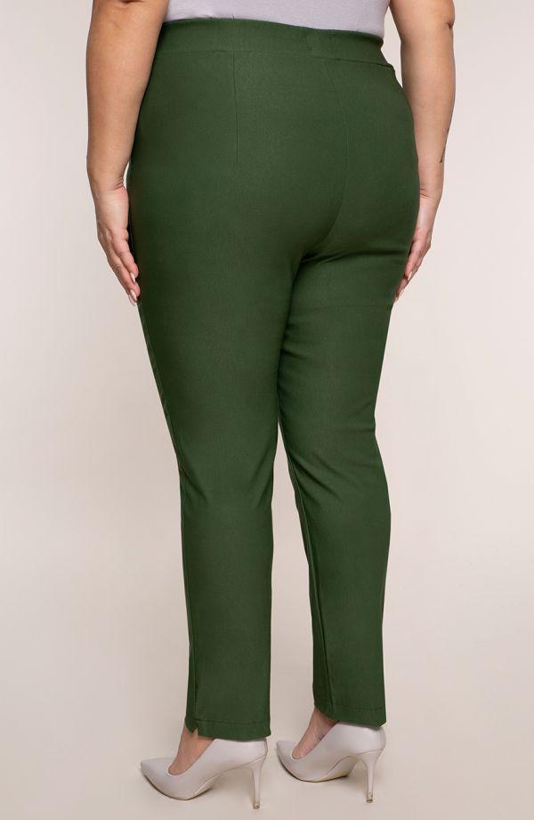 Oliwkowe spodnie plus sizez bardzo wysokim stanem
