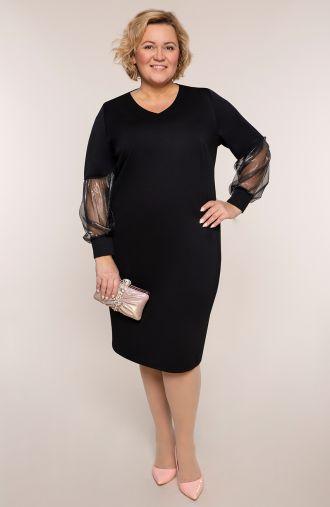 Czarna sukienka z połyskującymi rękawami