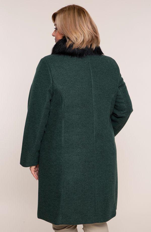 Elegancki dłuższy płaszcz w zielonym kolorze