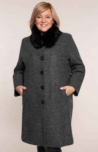 Elegancki płaszcz w grafitowym kolorze