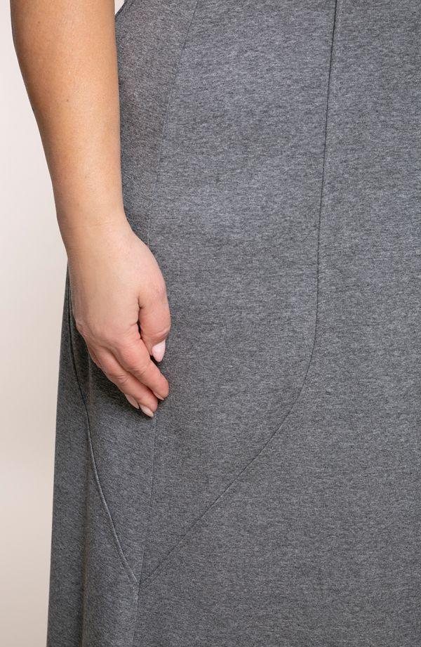 Szara spódnica syrenka z przeszyciami