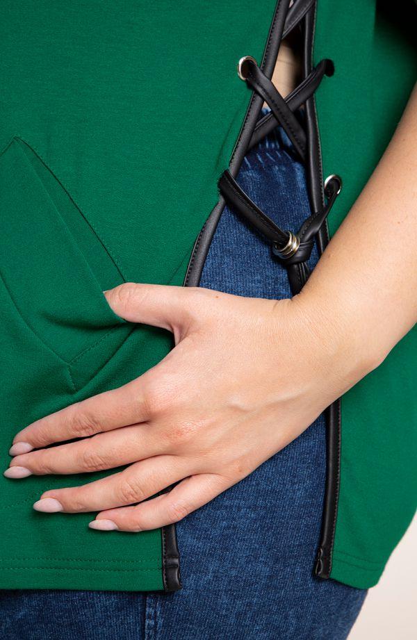 Dresowa zielona bluzka z wiązanymi bokami