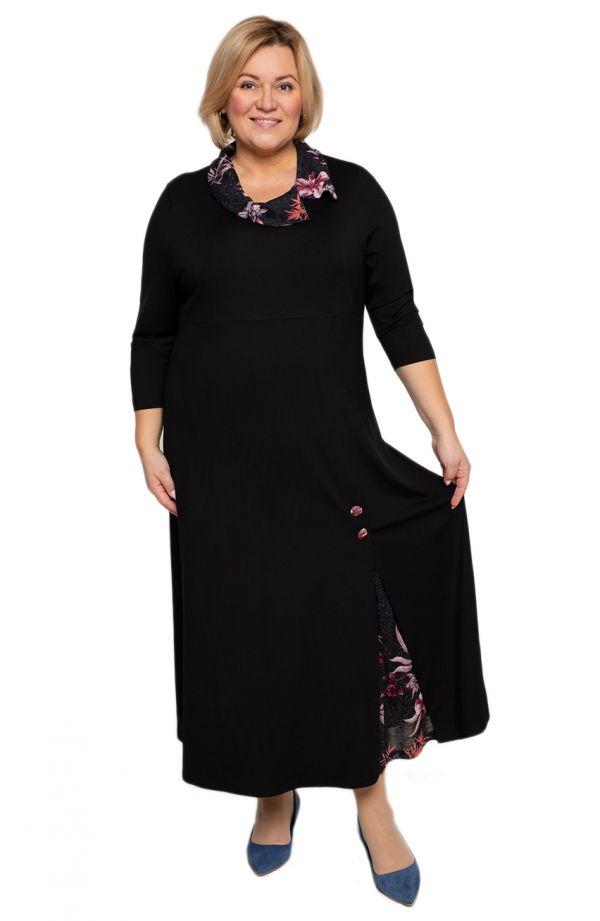 Czarna sukienka z brokatowym kołnierzem