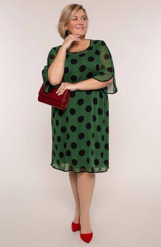 Zielona szyfonowa sukienka w czarne grochy