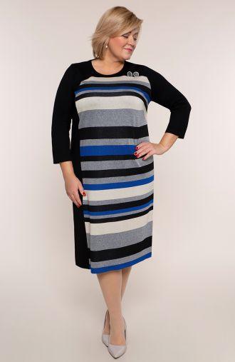 Czarna sukienka w szaroniebieskie paski