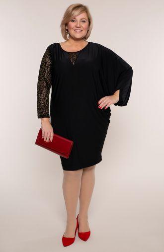 Czarna asymetryczna sukienka złoto persów